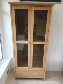 Oak Display Cabinet with built in light - (matching wine rack available)
