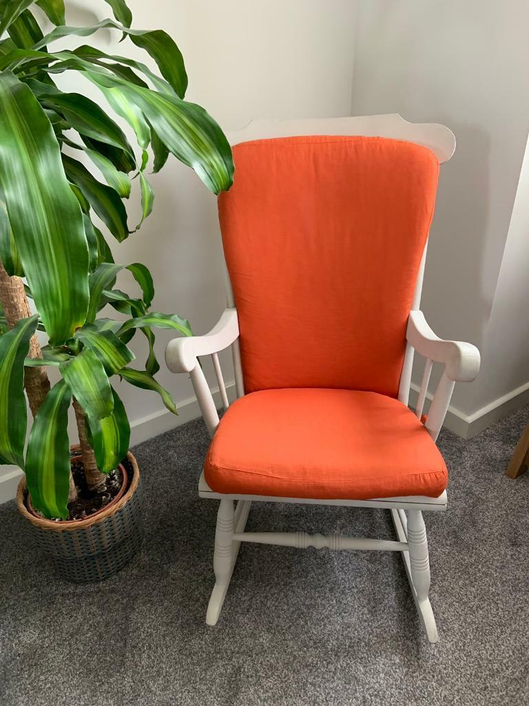 Grey Shabby Chic Rocking Chair With Removable Orange Cushions In