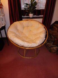 A Papasan Chair from The Pier, Bamboo Frame with cream cushion