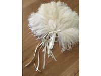 New - beautiful quality ivory ostrich feather fan - perfect for bridal wear