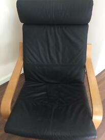 Ikea Poang Lounger Rocking Chair (Black Leather/Birch Wood) Offers Accepted