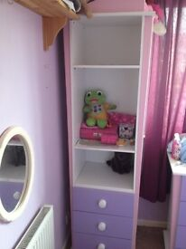 Bedroom furniture, wardrobe,bedside table and unit purple and pink