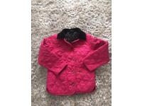 Barbour Pink jacket age 4-5 with black lining
