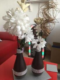 Brown and silver vases bling