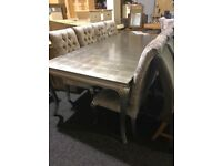 Long silver dining table and ten velvet chairs-exDisplay