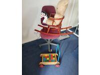 Baby walker an bricks, baby rocking chair