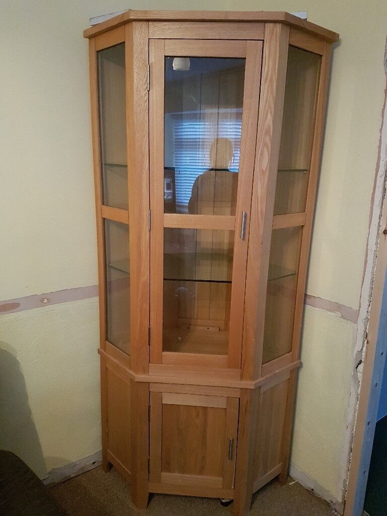 Solid Oak Corner Display Cabinet With Light Inside And Matching Tv Unit