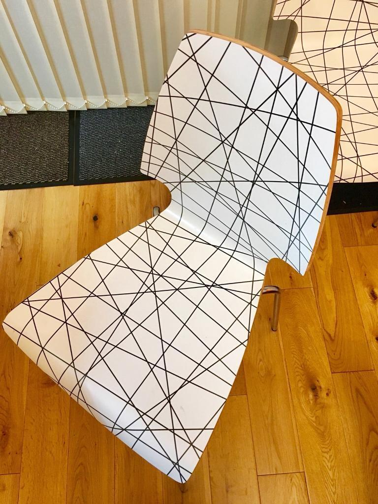 Nearly new Ikea wooden chairs with metal legs