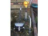 McCulloch, 2 stroke strimmer and 4 tine rotavator blades