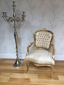 French Louis style Shabby Chic Light Gold Silk Demask chair with Gold wood frame
