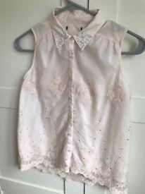 M&S girls pink lace embellished shirt