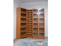 """IKEA Bookcase """"Billy"""" with glass doors, 2 CD or DVD shelving units and corner element Full set 120£"""