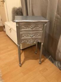Silver Shabby Chic French Style Bedside Cabinet Drawers
