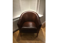 Tub Chair in brown leather