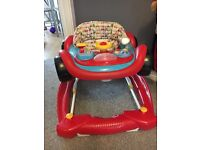 Car baby walker. Very good condition with removable car play tray toy