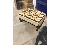 Vintage stool - with queen anne feet . Funky upholstery Size - L 53cm W 38cm H 28cm
