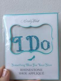 "Wedding shoe Blue ""I do"" stickers"