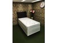 Single Split Base Divan Bed Frame & Mattress. Brand New. Ideal for Narrow Stairs etc