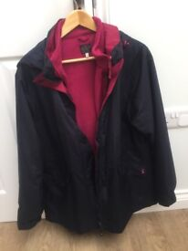 Joules Ladies Keswick Waterproof 3 in 1 jacket Marine Navy. Size 16. Excellent condition