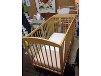 Natural Wood Baby Cot Cot, new condition