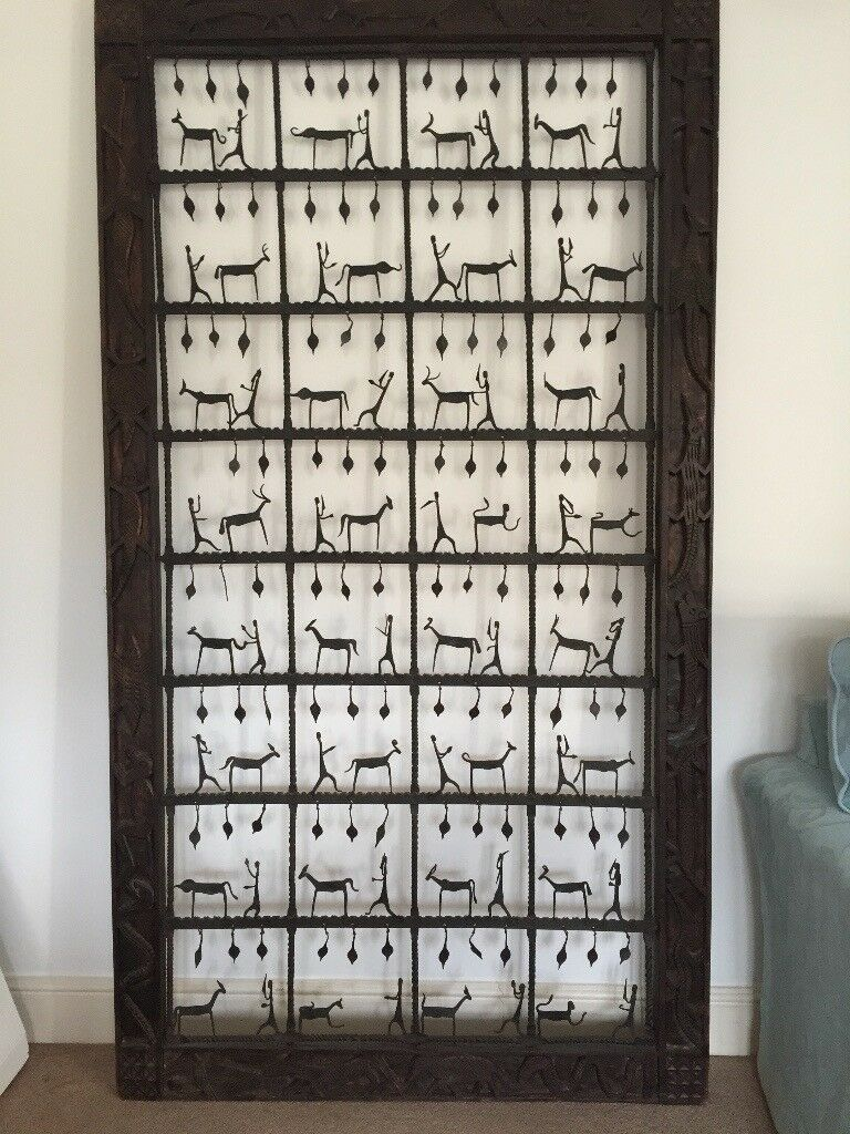 Unusual Large Wall Art Asian Wooden Frame Surrounding Metalwork Figures
