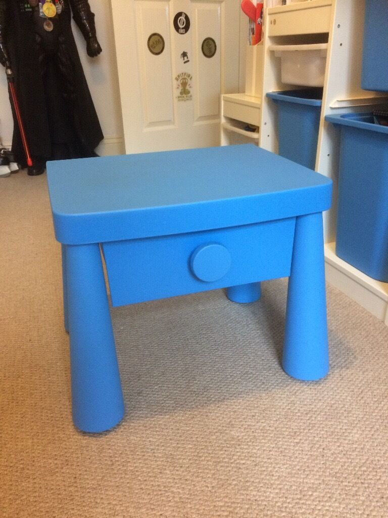 bedside table small drawer kids ikea mammut blue plastic in ware hertfordshire. Black Bedroom Furniture Sets. Home Design Ideas