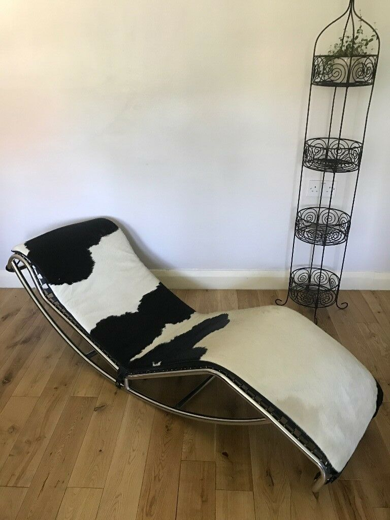Contemporary Looking Chrome and Real Cow Leather Lounger/