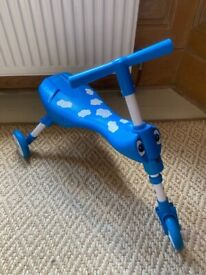 Scuttle Bug toddler trike - very good condition. Blue with cloud pattern
