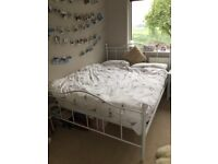 White, metal, king size bed frame in great condition