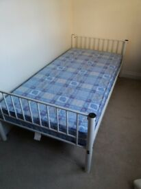 White Metal Bunk Bed with Mattress