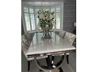 Dining table and chairs x4