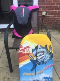 Girls surf suit and board