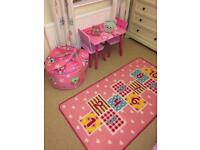 Girls Dunelm Owl bedroom curtains, throw and accessories