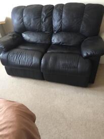 Black Leather double recline sofa