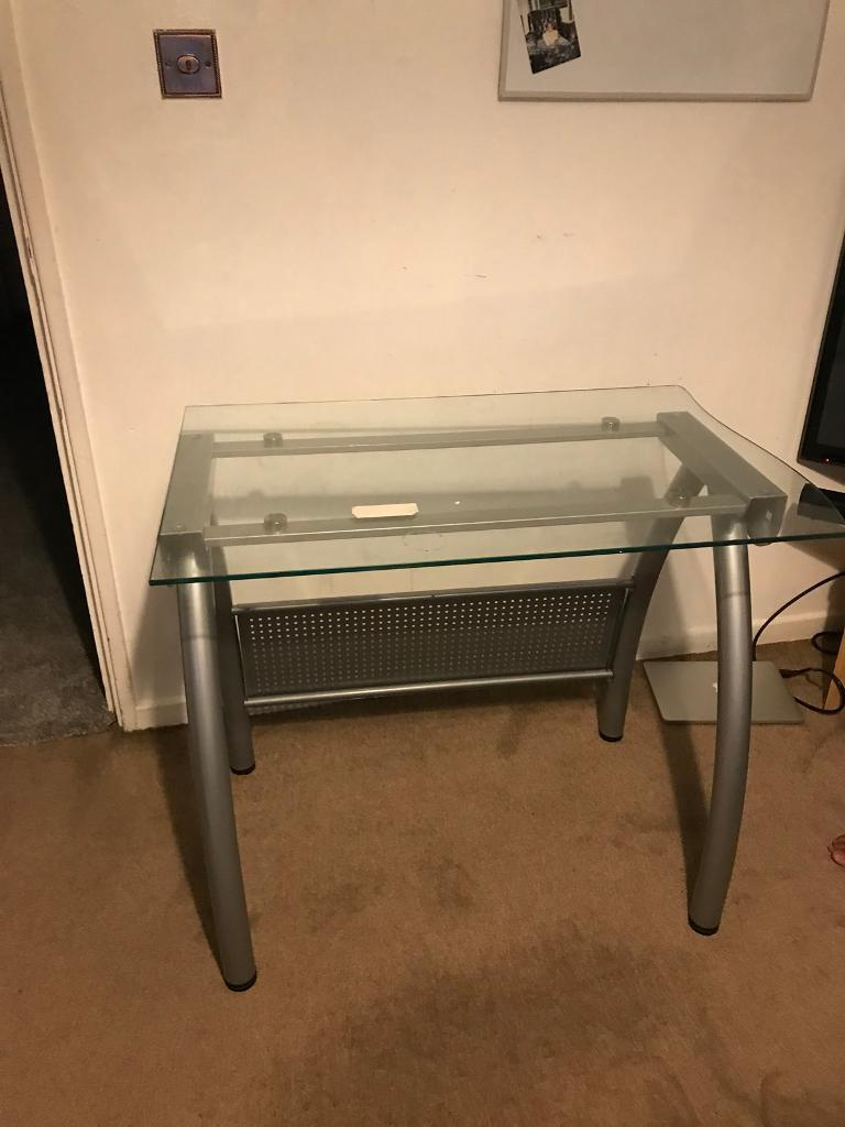 Glass desk table