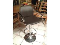 CHOCOLATE BROWN LEATHER BAR STOOL WITH CHROME ARM-RESTS