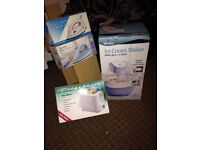 Ice cream maker, irons and toaster new