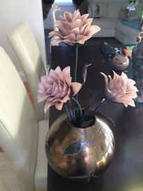 Next bronze bowl and flowers