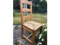 Oak and rattan kitchen chairs