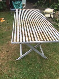 Oblong table with 3 seater bench and 3 separate chairs