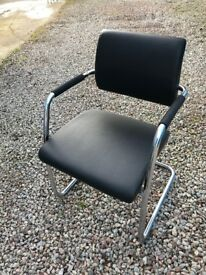 Office Chairs Chrome and Black Leather