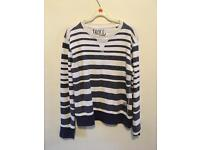 Jack and Jones blue striped jumper size small