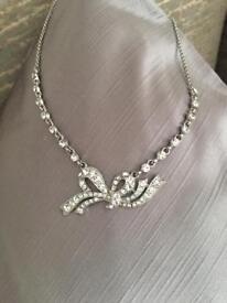 Diamanté necklace Art Deco style & ring