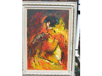 "Matador Oil Painting - Large - Signed 'Brittini' 24"" x 36""."