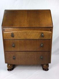 Oak Bureau - 1940's Pull Down Writing Desk With Drawers