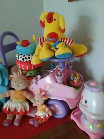 Girla toys and ride on car