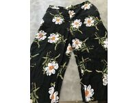 Asos wide leg high waisted floral pattern trousers