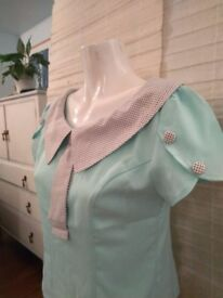 Retro Mint Coloured Short-Sleeved Blouse (40s/50s?) from the 'Banned' Label