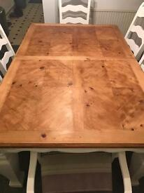 Shabby chic white and wood solid dinning table and 6 chairs