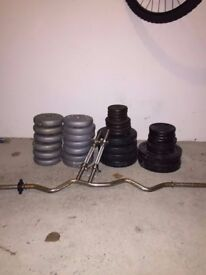 Assorted Weights, Bars and Bench